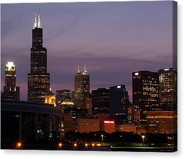 Chicago With A Purple Sky Canvas Print by Dan Susek
