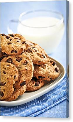 Bedtime Canvas Print - Chocolate Chip Cookies And Milk by Elena Elisseeva