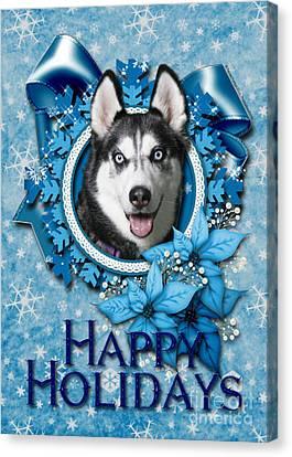 Christmas - Blue Snowflakes Siberian Husky Canvas Print by Renae Laughner