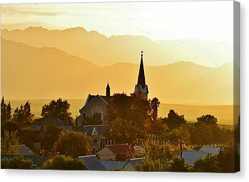 Canvas Print featuring the photograph Church At Dusk by Werner Lehmann