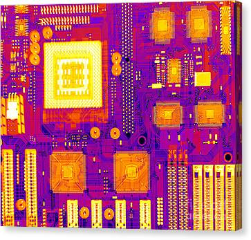 Circuit Board Canvas Print by Ted Kinsman