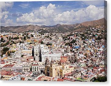 City Of Guanajuato From The Pipila Overlook At Dusk Canvas Print by Jeremy Woodhouse