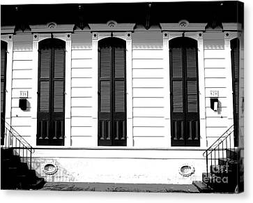 Classic French Quarter Residence New Orleans Black And White Conte Crayon Digital Art Canvas Print