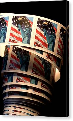 Closeup Of Modern United States Stamps Canvas Print by Phil Schermeister