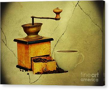 Coffee Mill And Beans In Grunge Style Canvas Print by Michal Boubin