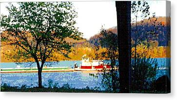 Early Spring Canvas Print - Colorful Barge At Flood Stage by Padre Art