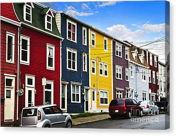 Colorful Houses In St. John's Newfoundland Canvas Print by Elena Elisseeva