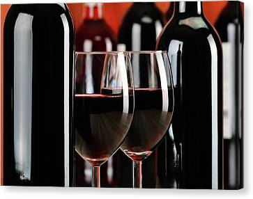 Composition With Glasses And Bottles Of Wine Canvas Print by T Monticello