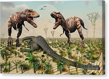 Confrontation Between A Pair Of T. Rex Canvas Print by Mark Stevenson
