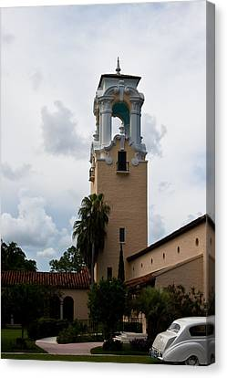 Canvas Print featuring the photograph Congregational Church Tower by Ed Gleichman