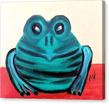 Canvas Print featuring the painting Contented Male Frog by Margaret Harmon