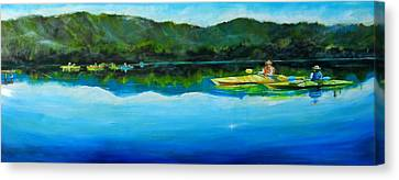 Conversation At Spring Lake Canvas Print by Terrence  Howell