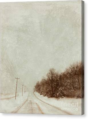Country Road In Snow Canvas Print by Jill Battaglia