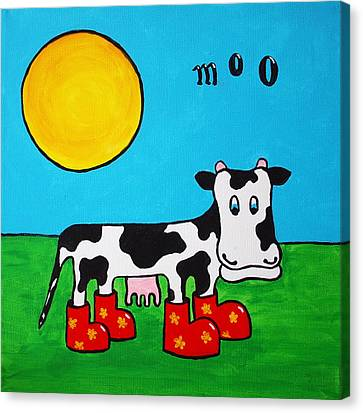 Canvas Print featuring the painting Cow by Sheep McTavish