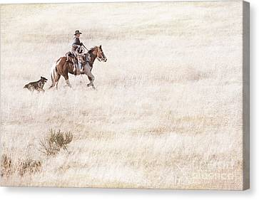 Cowboy And Dog Canvas Print by Cindy Singleton