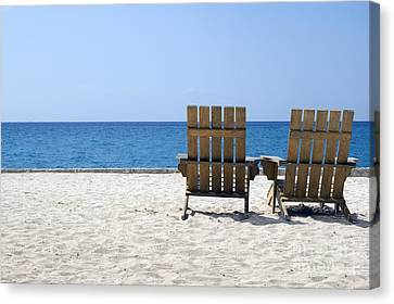 Canvas Print featuring the photograph Cozumel Mexico Beach Chairs And Blue Skies by Shawn O'Brien