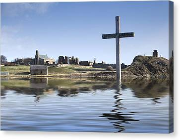 Cross In Water, Bewick, England Canvas Print