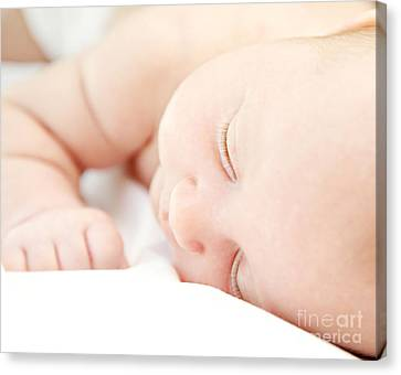 Cute Little Baby Sleeping Canvas Print by Anna Om
