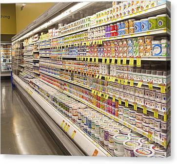 Dairy Aisle In A Grocery Store Canvas Print by David Buffington