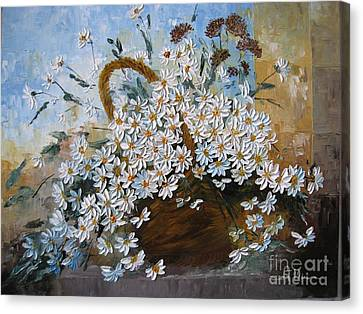Daisies Canvas Print by AmaS Art