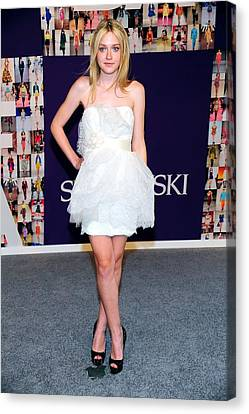 Dakota Fanning Wearing Marchesa Dress Canvas Print by Everett