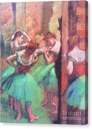 Dancers - Pink And Green Canvas Print by Pg Reproductions