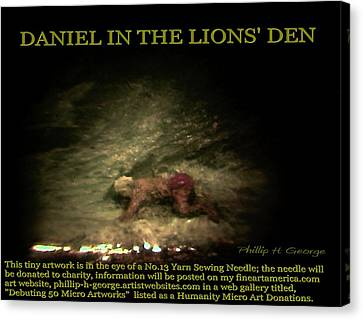 Daniel In The Lion's Den Info Photo No.1  Canvas Print by Phillip H George