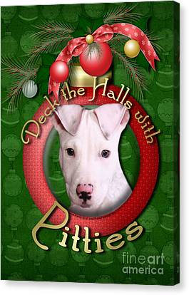 Deck The Halls With Pitbulls Canvas Print by Renae Laughner
