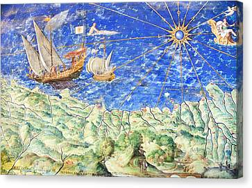 Detail Of 16th Century Map Of Liguria Canvas Print by Sheila Terry