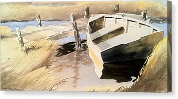 Docs Old Rowboat Canvas Print by Don F  Bradford