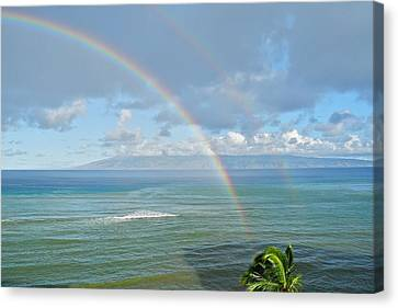 Canvas Print featuring the photograph Double Rainbow In Maui by Kirsten Giving