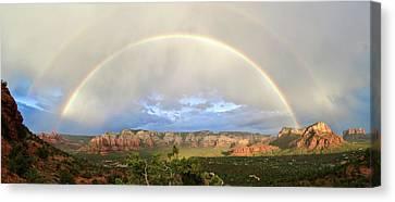 Double Rainbow Over Sedona Canvas Print by David Sunfellow