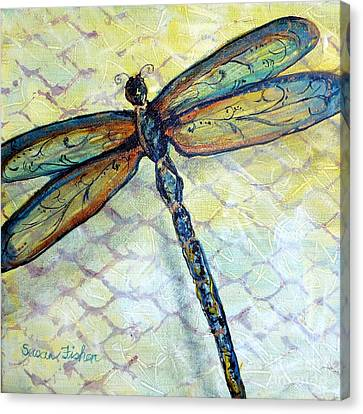 Canvas Print featuring the painting Dragonfly Dancer by Susan Fisher