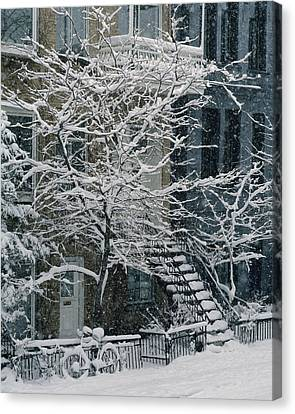 Drolet Street In Winter, Montreal Canvas Print by Yves Marcoux