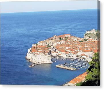 Canvas Print featuring the drawing Dubrovnik Former Yugoslavia Croatia by Joseph Hendrix