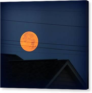Early Morning Full Moon Over Walton Kentucky Canvas Print by Maureen  McDonald