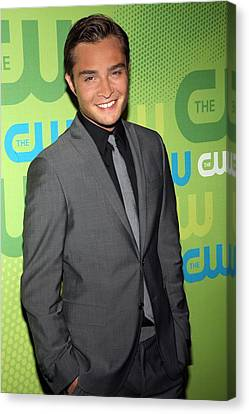 Ed Westwick At Arrivals For The Cw Canvas Print by Everett