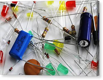Polyester-film Canvas Print - Electronic Components by Photo Researchers, Inc.