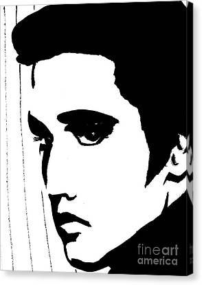 Elvis In Black And White Canvas Print