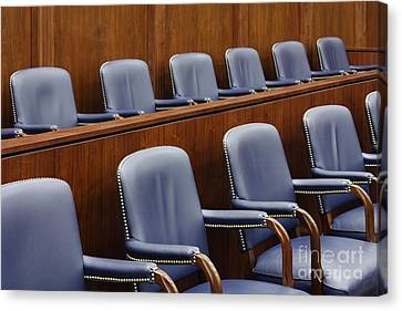 Empty Jury Seats In Courtroom Canvas Print by Jeremy Woodhouse