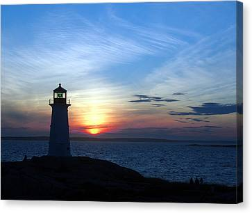 Evening At Peggy's Cove Canvas Print by George Cousins