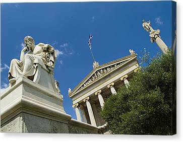 Greek Icon Canvas Print - Exterior Of The Athens Academy, Greece by Richard Nowitz