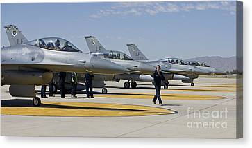 F-16 Pilots Work With Crew Chiefs Canvas Print by HIGH-G Productions