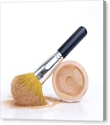 Face Powder And Make-up Brush Canvas Print by Bernard Jaubert