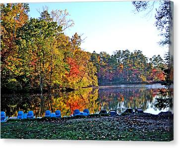 Fall At The Lake Canvas Print by Larry Bishop