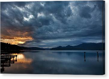Fall Sunset Over Lake Pend Oreille Canvas Print by Marie-Dominique Verdier