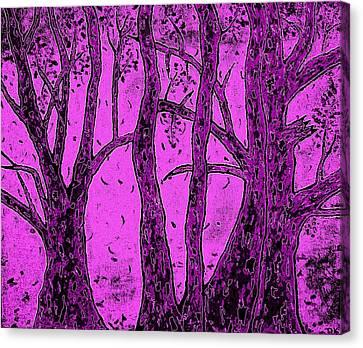 Falling Leaves Purple Canvas Print