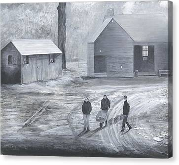 Farm In Black And White Canvas Print by Stuart B Yaeger