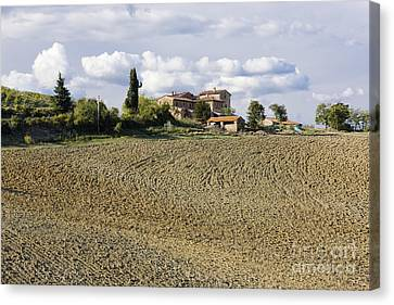 Farmhouse And Field Canvas Print by Jeremy Woodhouse