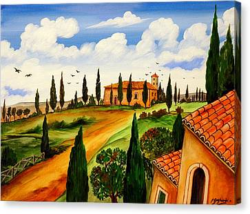 Canvas Print featuring the painting Fattoria Toscana by Roberto Gagliardi